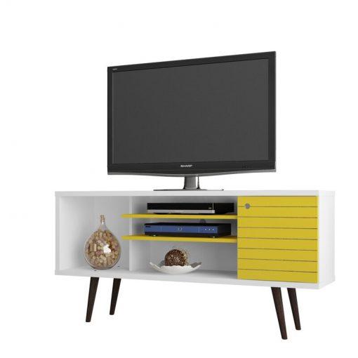 tv stand with storage yellow bworn white