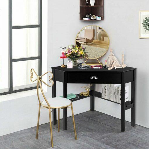 black computer desk corner