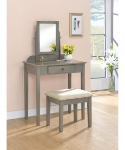 grey dressing mirror with stool