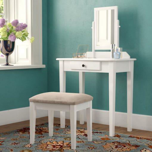 All white dresser ,mirror seat stool makeup