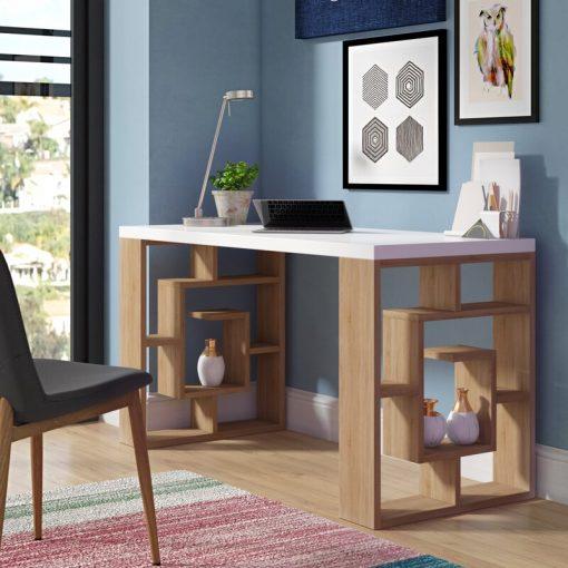 Cream office desk contemporary design