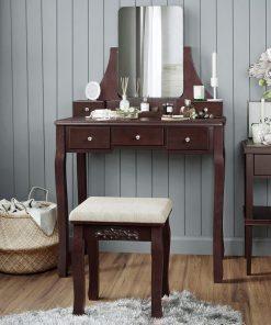 all brown dressing dresser mirror