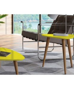 yellow side end coffee table