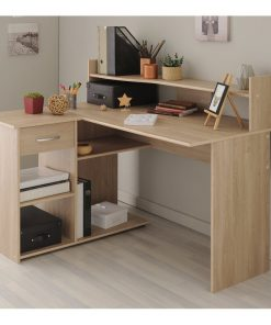 office desk with drawers storage brown coffee