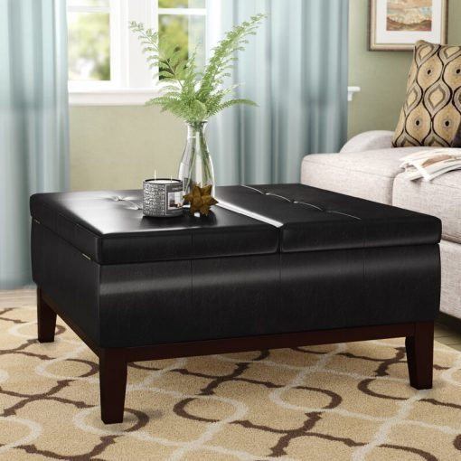 black ottoman with storage leather