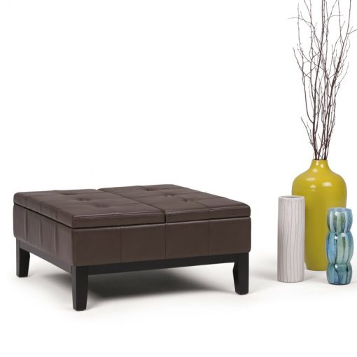 chocolate brown leather ottoman with storage