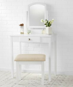solid wood white dresser dressing mirror with stool chair