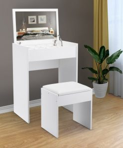 all white makeup table and chair