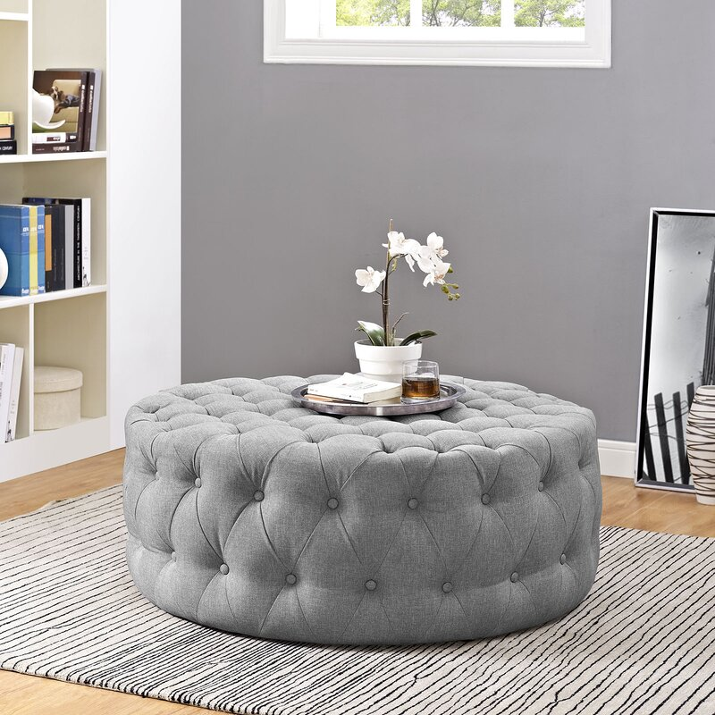 Throwball Rounded Tufted Cocktail Ottoman Furwoodd