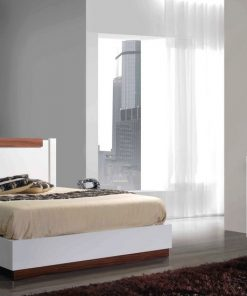 king size white bed with led