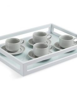all white serving tray gloss finish