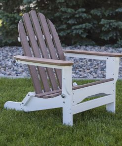 white and mahogany light brown outdoor chair