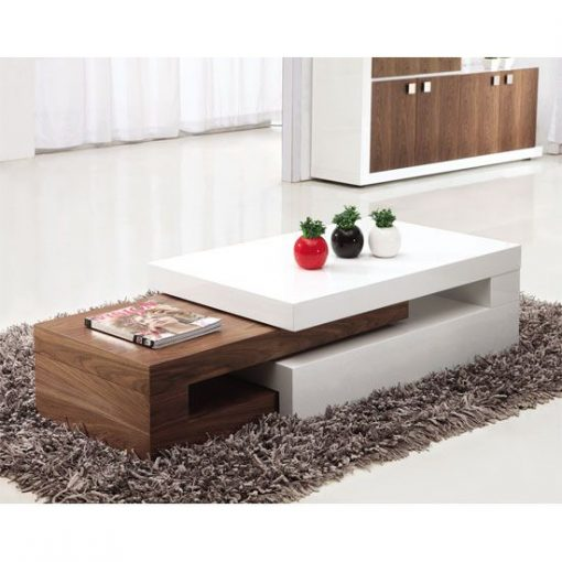 white and brown center table