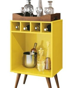 yellow bar and wine area center rack