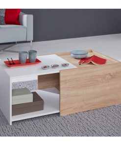 extensible centre center table white and oak brown