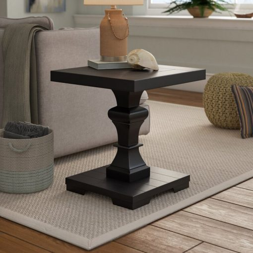 square end black end side coffee table