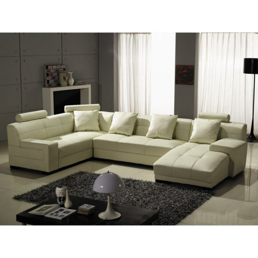 L shape leather family couch sofa