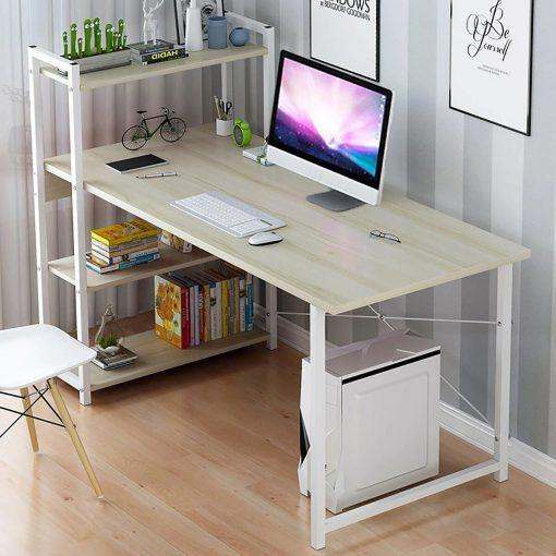 cream oak color computer desk