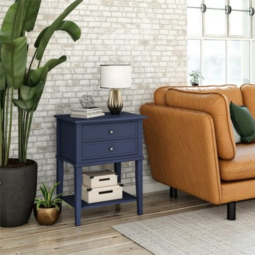 deep blue navy blue side end table