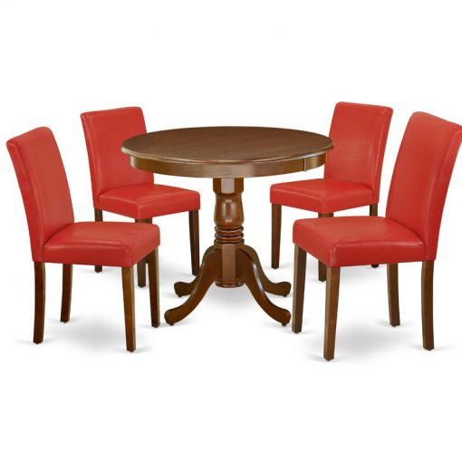 Red leather dining table set