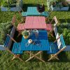 blue outdoor chair for two seat