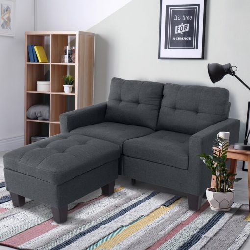 cute simple 2 in1 with ottoman couch grey