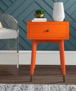 orange nightstand bedside cabinet