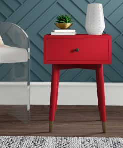 red nightstand bedside cabinet