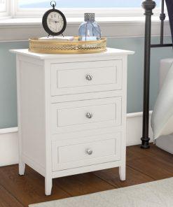 Natural wood bedside cabinet