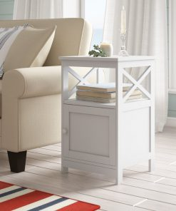 all white end side table