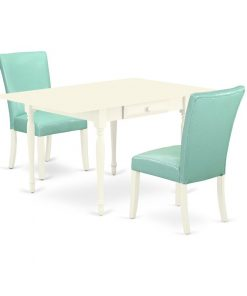 white and blue dining table set