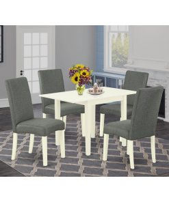 cream and gray color dining chair and table