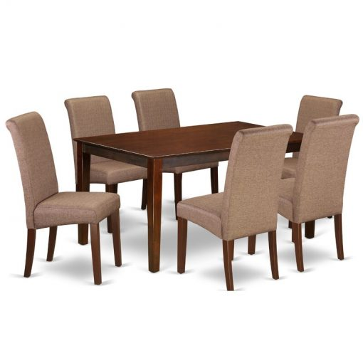 coffee brown dining set table and chair