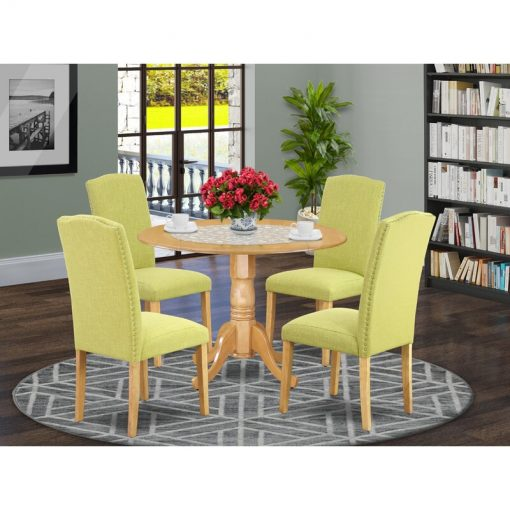 lemon green dining chair and table